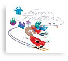 Santa skiing Canvas Print