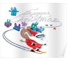 Santa skiing Poster
