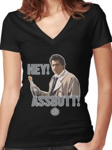 Hey! Assbutt! Women's Fitted V-Neck T-Shirt