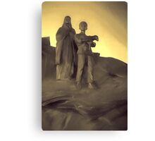 Old Woman and a Boy With Young Lamb Canvas Print