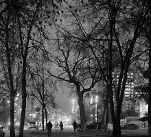 City at Nght Monochrome Black and White by NeonAbstracts