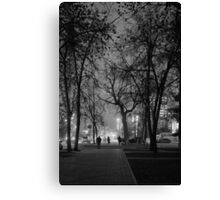 City at Nght Monochrome Black and White Canvas Print