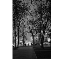 City at Nght Monochrome Black and White Photographic Print