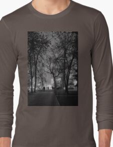 City at Nght Monochrome Black and White Long Sleeve T-Shirt