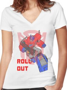 Optimus Prime - Roll Out Women's Fitted V-Neck T-Shirt