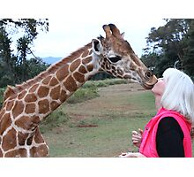Kissed by a Giraffe.. really.. Photographic Print