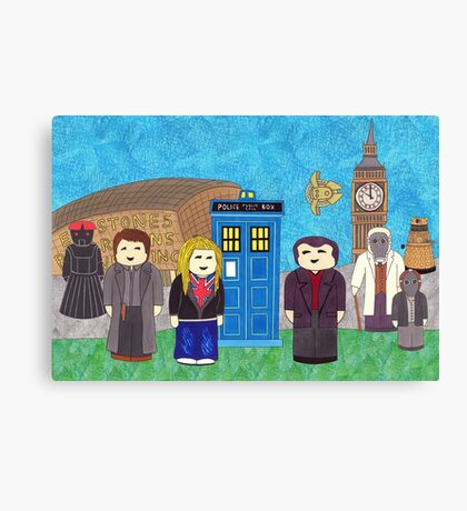 9th Doctor and his companions Canvas Print