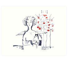 Romantic Christmas Angel with Kitten Art Print