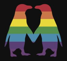 Rainbow penguins in love. by rayemond