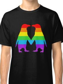 Rainbow penguins in love. Classic T-Shirt