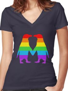 Rainbow penguins in love. Women's Fitted V-Neck T-Shirt
