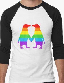Rainbow penguins in love. Men's Baseball ¾ T-Shirt