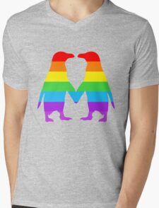 Rainbow penguins in love. Mens V-Neck T-Shirt