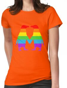 Rainbow penguins in love. Womens Fitted T-Shirt