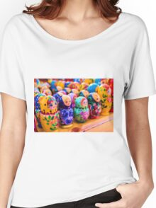 Traditional Russian Matryoshka Nesting Puzzle Dolls Women's Relaxed Fit T-Shirt