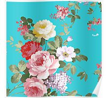 Chic trendy pink red floral vintage roses pattern  Poster