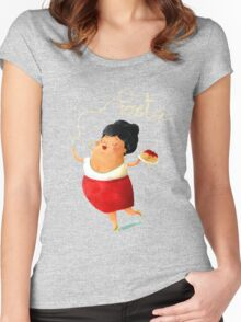 Spaghetti Pasta Lady Women's Fitted Scoop T-Shirt