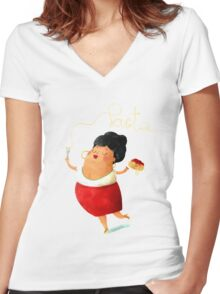 Spaghetti Pasta Lady Women's Fitted V-Neck T-Shirt