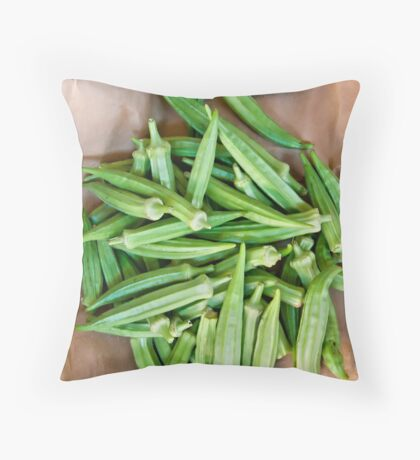 Organic Okra On A Paper Bag Throw Pillow