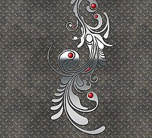 Metal plating and silver with red gem detail. by Confundo