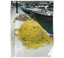 Greek Fishing boats colorful nets Poster