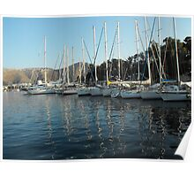 Leros Greek Island Sailboat Harbor Poster