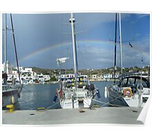 Full rainbow over Sailboat in Greek Island Poster