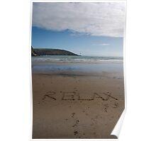 Relax word in sand on beach, Salcombe, Devon, United Kingdom Poster