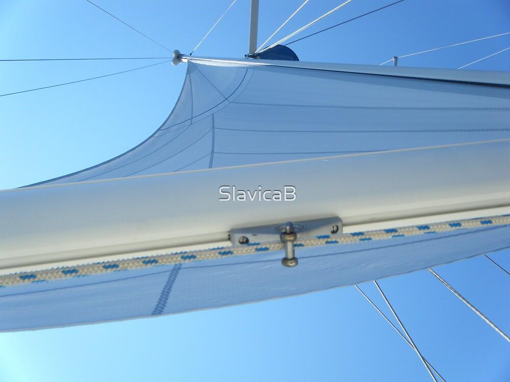 Sailboat Sail Amel Santorin in blue sky 2 #photography by SlavicaB