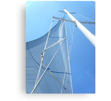 Sailboat Sail Amel Santorin in blue sky 3 #photography Canvas Print