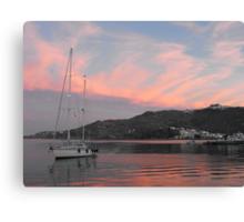 Amel sailboat  in Greek Island Sunset Canvas Print