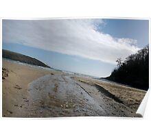 Flowing stream on beach, Salcombe, Devon, United Kingdom Poster
