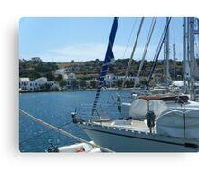 Sailboat Greek harbor view Canvas Print