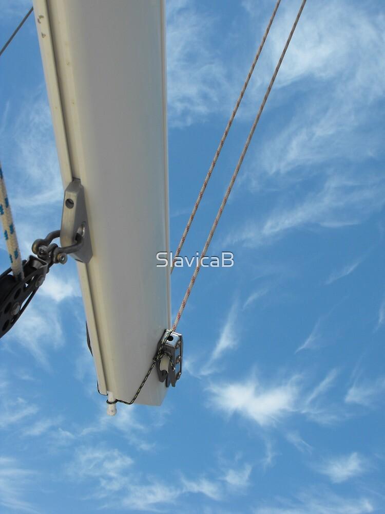 Sailboat mast in sky by SlavicaB