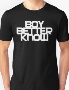 Boy Better Know - White Logo, High Placement T-Shirt