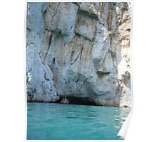 Greek Island Caves in water Poster