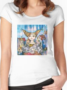 Young Lady with Kitten Women's Fitted Scoop T-Shirt