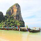 Longtail Boats - West Railay Beach - Thailand by Honor Kyne