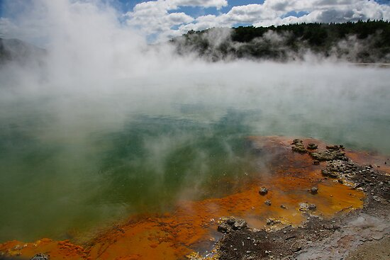 Steam rising from Champaigne Pool. Waiotapu. NZ by Ian Hallmond