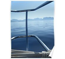 Sailboat perspective of Greek Island Poster
