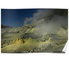 Steaming sulfur vents. White Island volcano. New Zealand. Poster