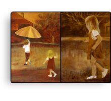 Little Girl In A Hurry - pair- inspired by photograph by Clare Collins Canvas Print