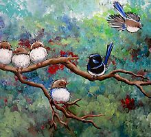 Wrens in the Garden by Sally Ford