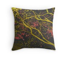 gold leaf maple trees black Throw Pillow
