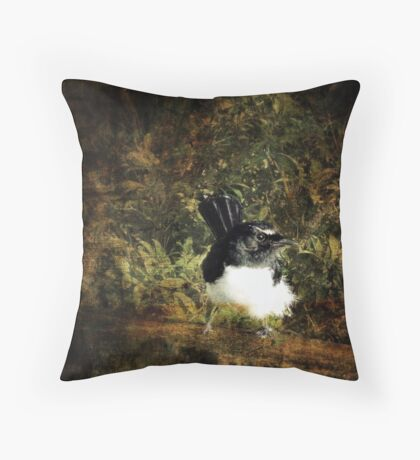 Willy Wagtail Throw Pillow