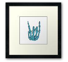 Rock On Skeleton Hand - Blue Framed Print