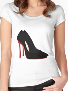 red heels black shoes Women's Fitted Scoop T-Shirt