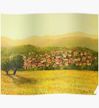 Golden Rural Scene Poster