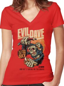 Evil Dave Women's Fitted V-Neck T-Shirt