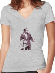 Vincent Vega 0hmm big Women's Fitted V-Neck T-Shirt